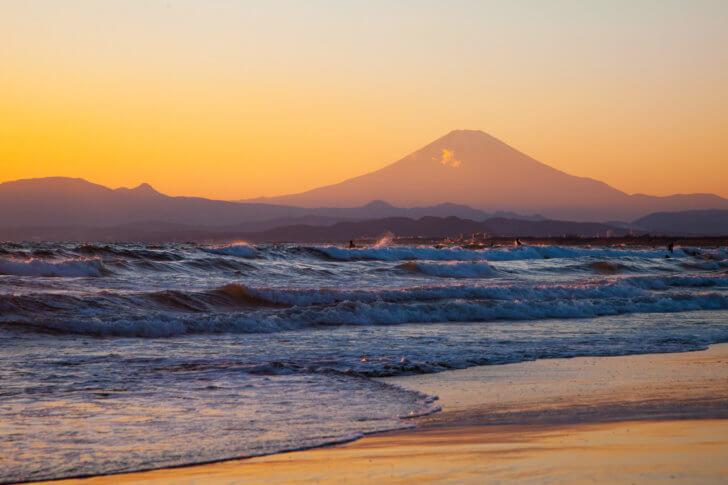押し寄せる波と富士の山